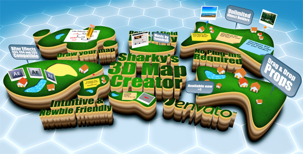 After Effects Project - VideoHive Sharky's 3D Map Creator V1.0 1538584