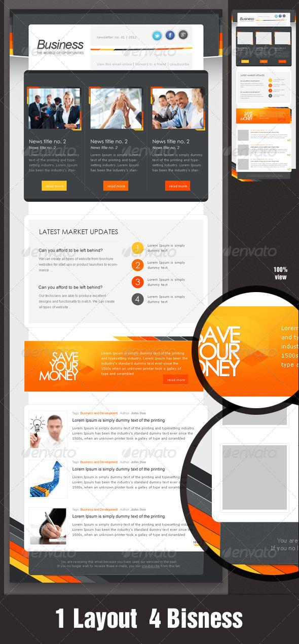GraphicRiver Business eNewsletter Design Orange & Grey 1538830