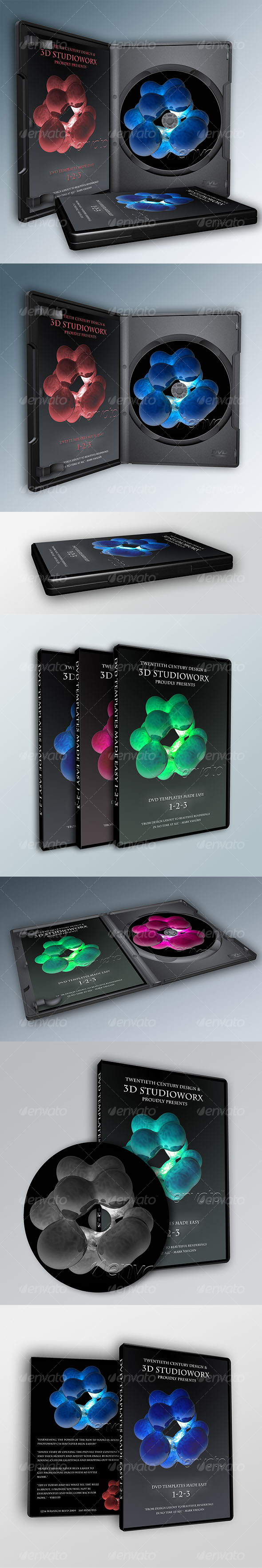 7-in-1 3D DVD Templates the EASY WAY - 3D Renders Graphics
