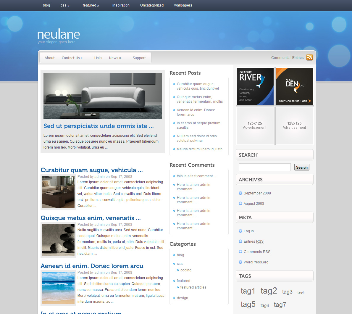neulane - Homepage screenshot of neulane. 1 Featured post, 3 column.