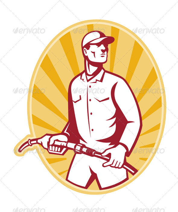 Graphic River Gas Jockey With Petrol Pump Nozzle Retro Vectors -  Characters  People 1541211
