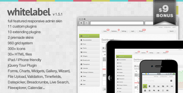 ThemeForest White Label a full featured Admin Skin 270758
