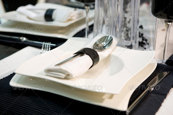Luxurious dinner in black and white  - Stock Photo - Images