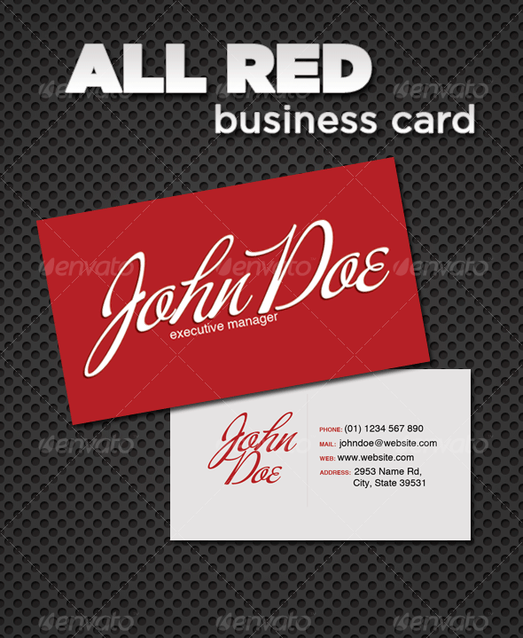 All Red Business Card - Corporate Business Cards