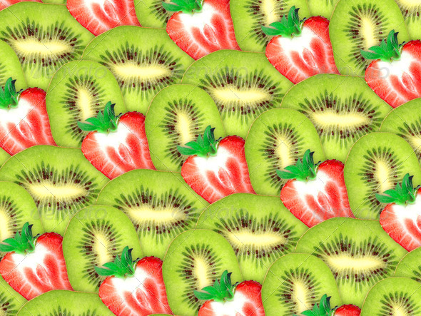 background of fresh kiwi and strawberry slices - Stock Photo - Images