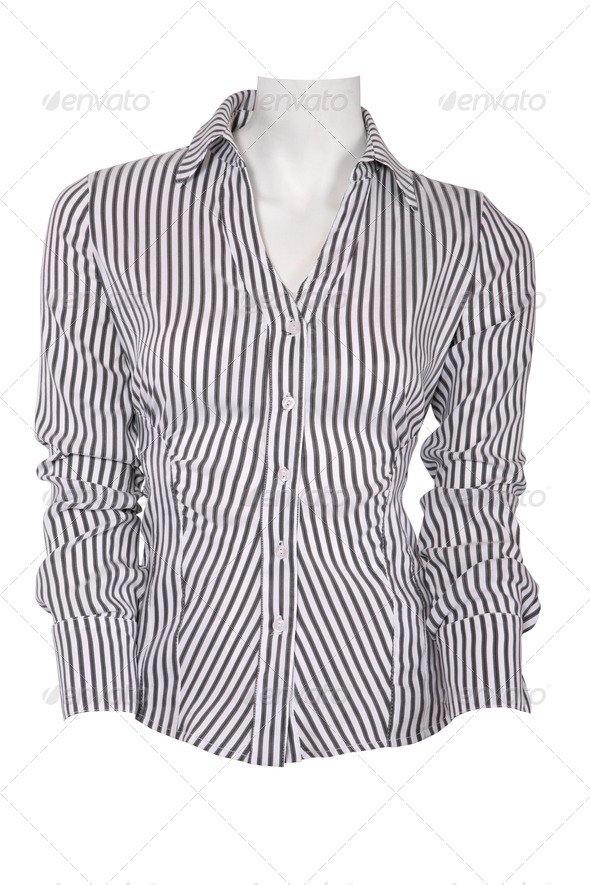 Stripped female blouse isolated on white - Stock Photo - Images