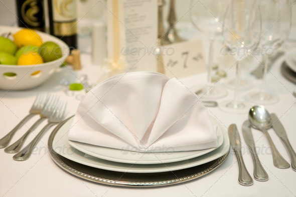 Fancy table set for a wedding dinner  - Stock Photo - Images