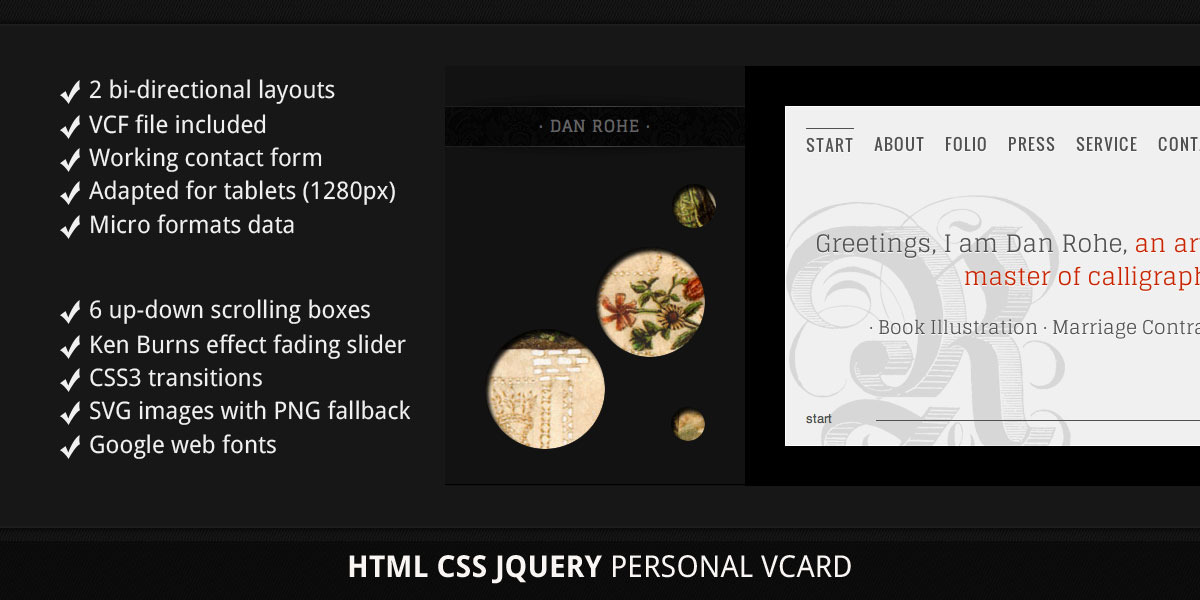 vCard. Bi-Direction. HTML5. Portfolio. Micro data.