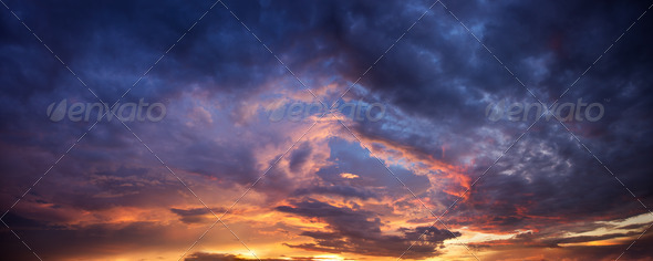 Dramatic evening sky - Stock Photo - Images