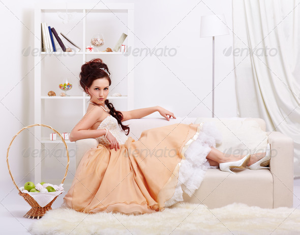 beautiful retro girl - Stock Photo - Images