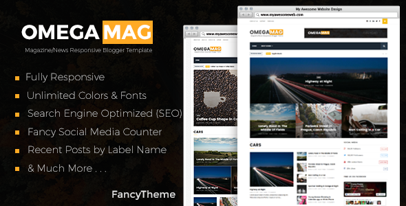 OmegaMag - Magazine/News Responsive Blogger Template - Free Website ...