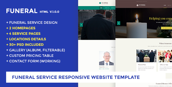 Funeral Service Website Template Funeral Caring Home By Jitu Themeforest