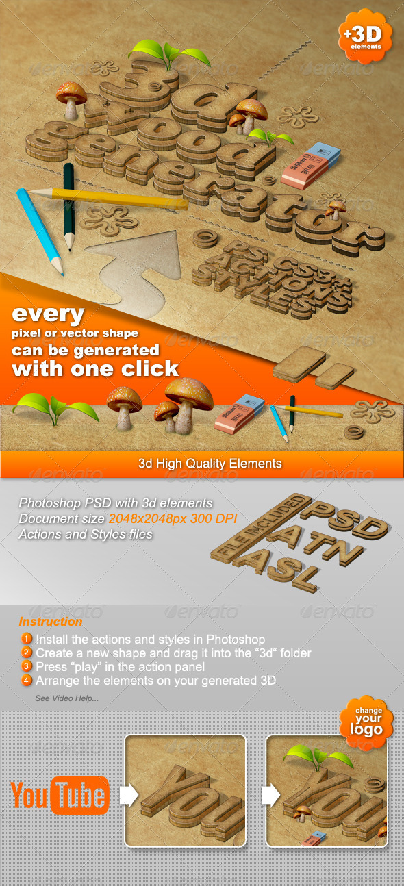 Graphic River 3D Wood Generator Add-ons -  Photoshop  Actions  Utilities 1545931