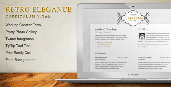 ThemeForest Retro Elegance CV Resume Html Template 236288
