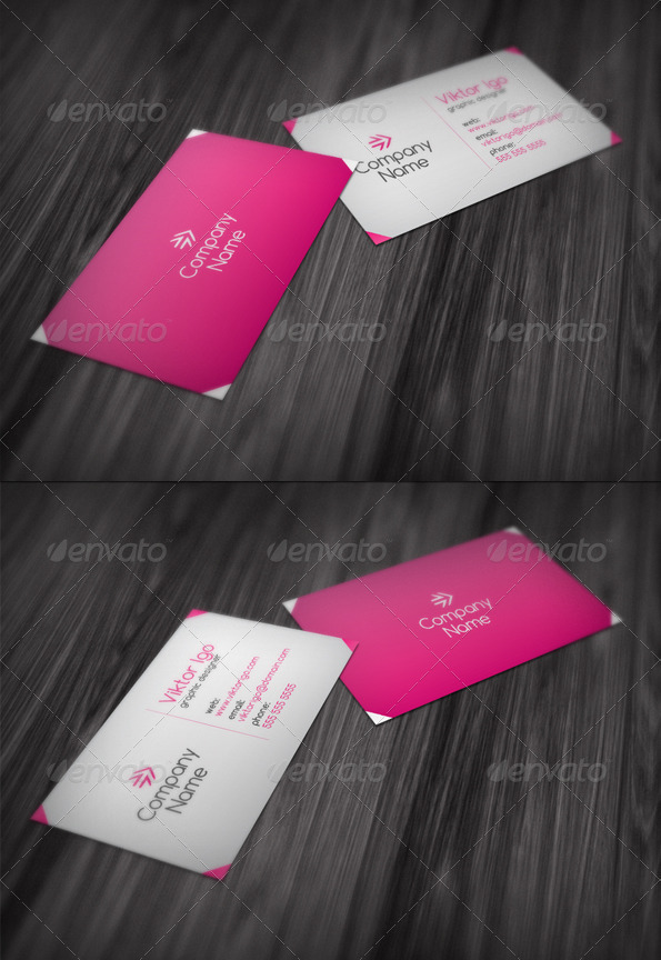 GraphicRiver Trendy Pink Business Card 1564467