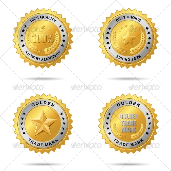 Set of best choice golden labels. - Decorative Symbols Decorative