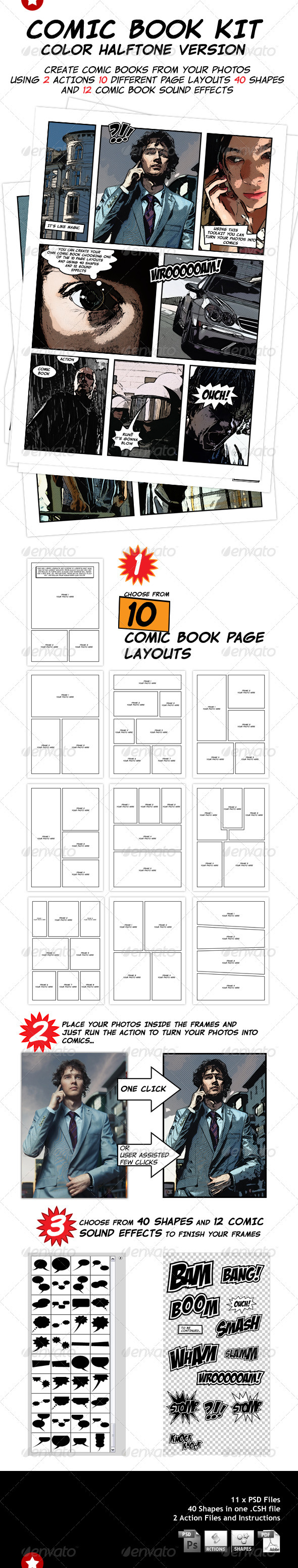 Comic Book Creation Kit - Artistic Photo Templates