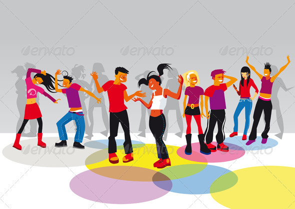 Teenagers Dancing  GraphicRiver - Vectors -  Characters  People 1569379