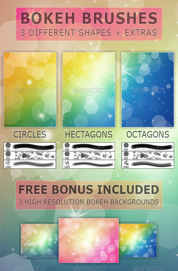 Bokeh Brushes - 3 Shapes and Extras - Photoshop Add-ons