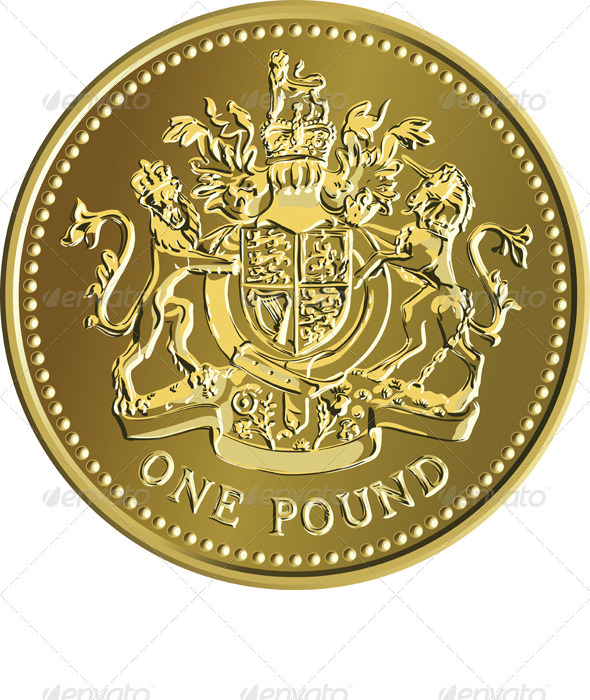 Vector British Money Gold Coin One Pound - Concepts Business