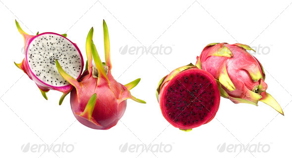White and Red Dragon Fruit (Pitaya) - Stock Photo - Images