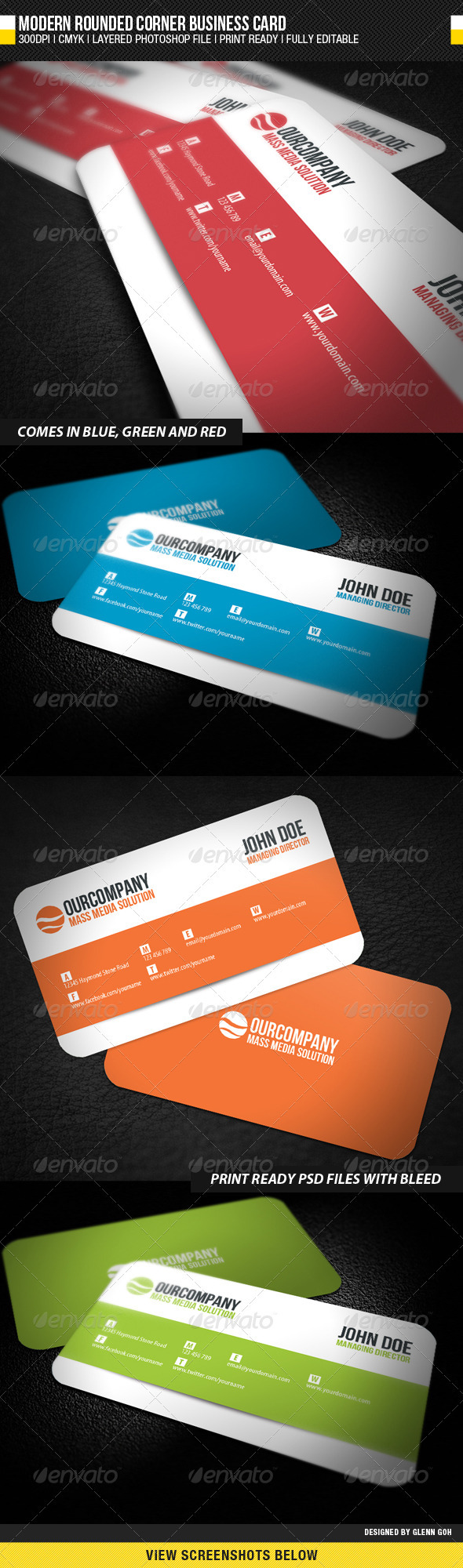 Modern Rounded Corner Business Card - Corporate Business Cards