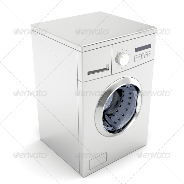 Silver washing machine - Stock Photo - Images