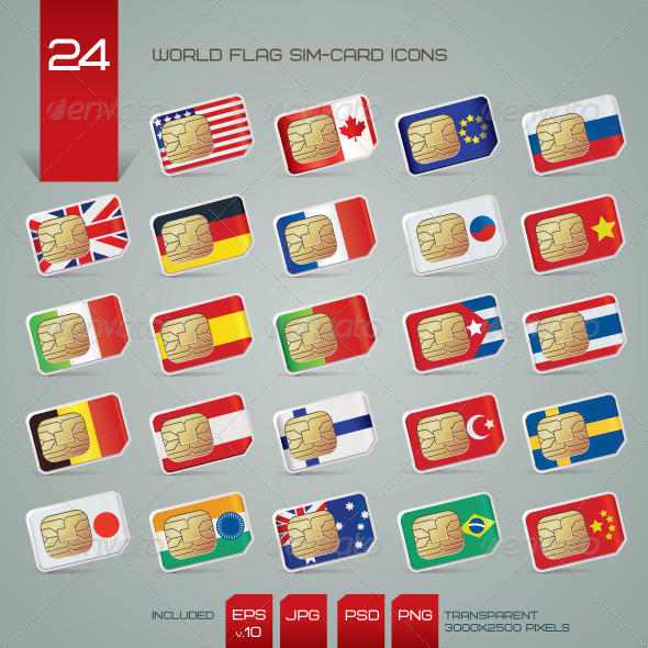 World Flag SIM Cards Icons Set - Technology Icons