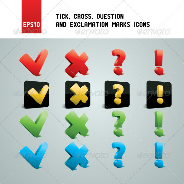 Tick, Cross, Question and Exclamation Marks - Miscellaneous Icons