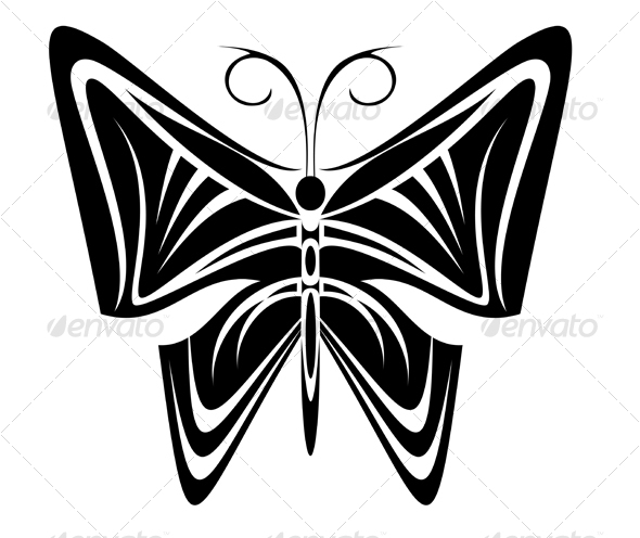 Butterfly tattoo in tribal style - Tattoos Vectors