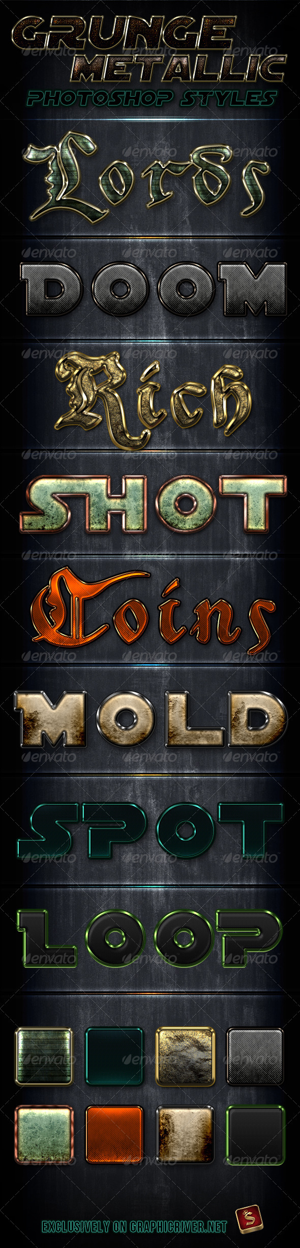 Metallic Grunge Photoshop Styles - Text Effects Styles