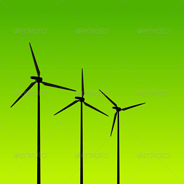 GraphicRiver Eco Energy Turbines on Green 1585538
