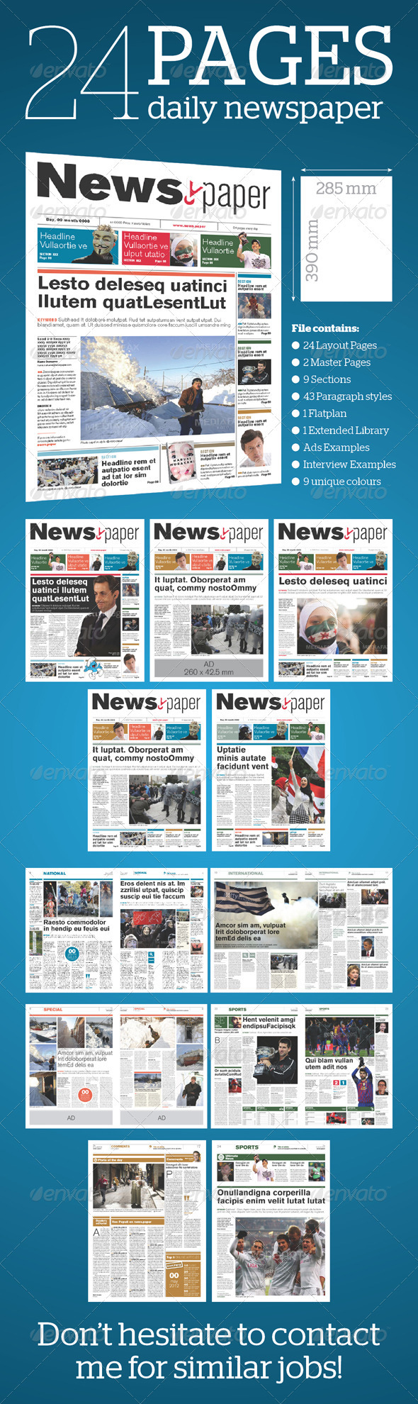 24 Pages Daily Newspaper - Newsletters Print Templates