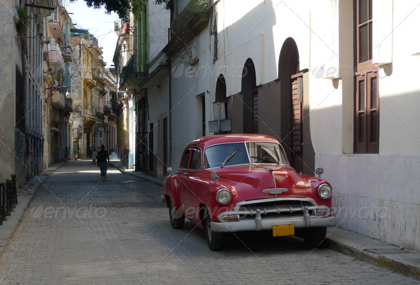 Picture of a old american car in Havana, Cuba - Stock Photo - Images
