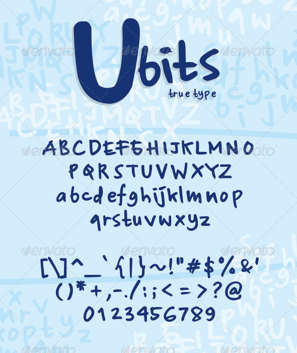 Ubits True Type - Hand-writing Script