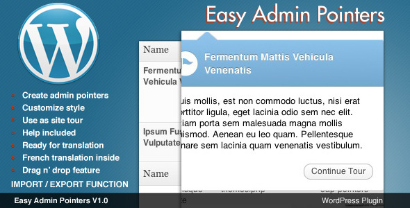 CodeCanyon Easy Admin Pointers Admin Tour 1591232