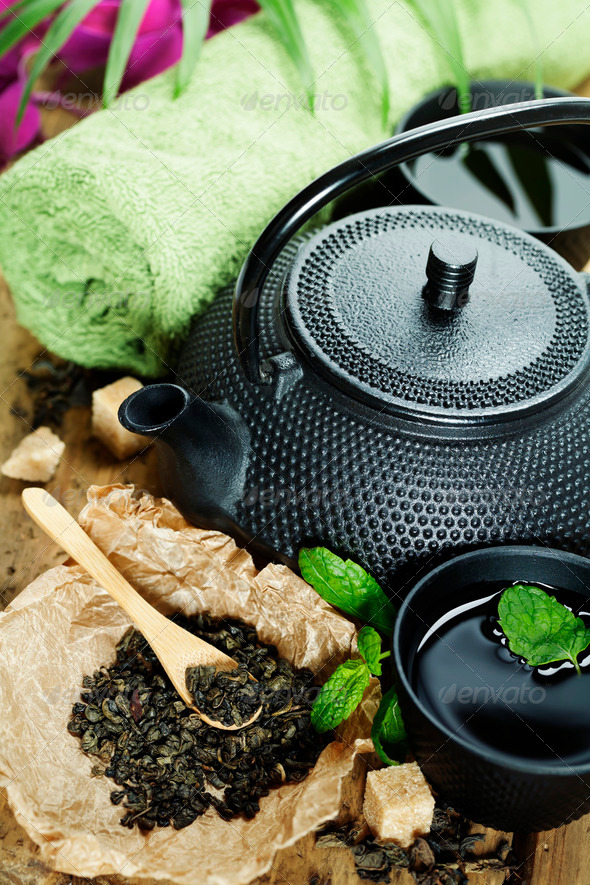 asian tea set and spa settings - Stock Photo - Images