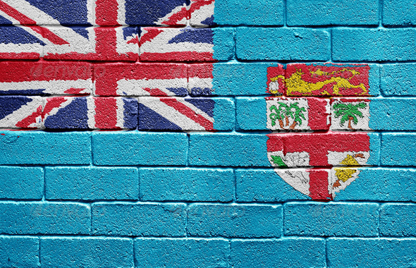 Flag of Fiji on brick wall - Stock Photo - Images