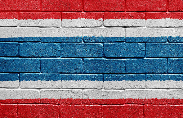 Flag of Thailand on brick wall - Stock Photo - Images