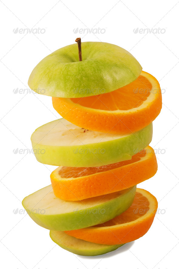 Sliced orange and green apple - Stock Photo - Images