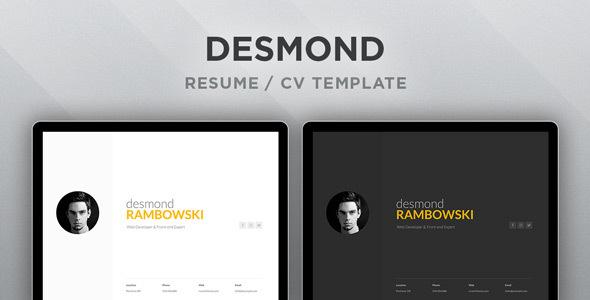 Desmond: Resume / Cv Html Template By Ruventhemes | Themeforest