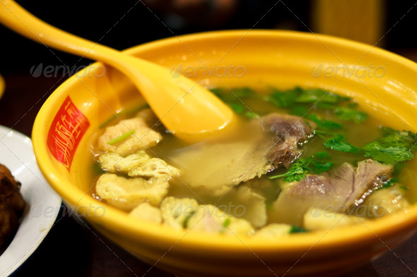 Slice beef tofu soup - Stock Photo - Images
