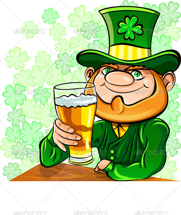 Vector St. Patrick's Day Leprechaun Drinks Beer - Seasons/Holidays Conceptual