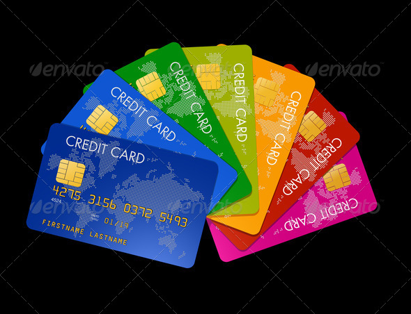 Colored credit cards - Stock Photo - Images