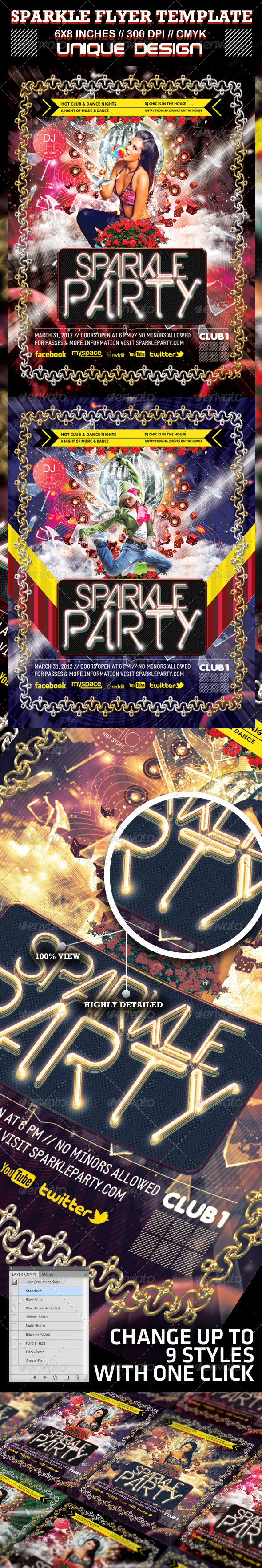 Sparkle Party and Club Flyer Template - Clubs & Parties Events