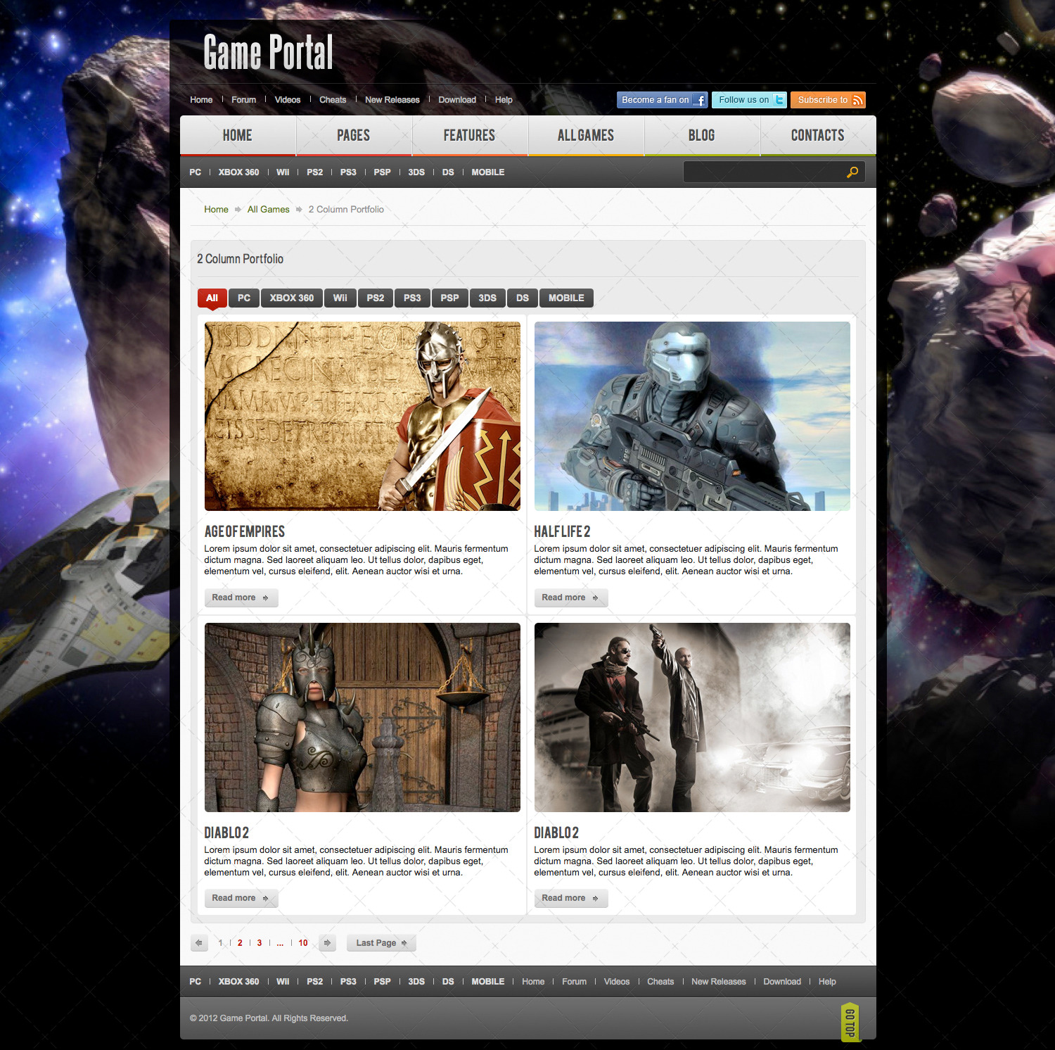 Game Portal PSD Template