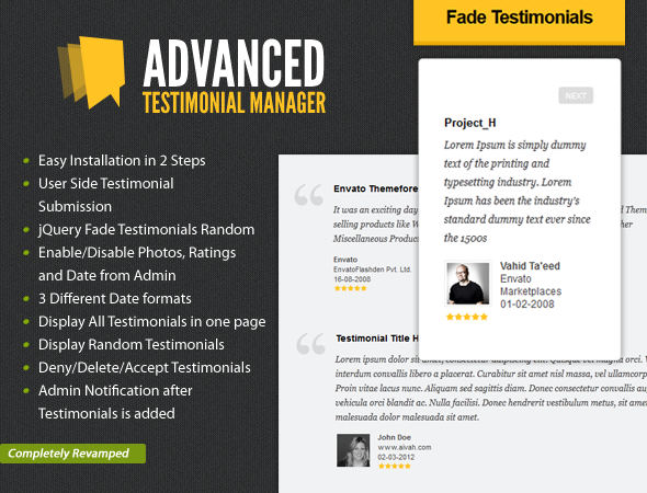 Advanced Testimonials Manager System