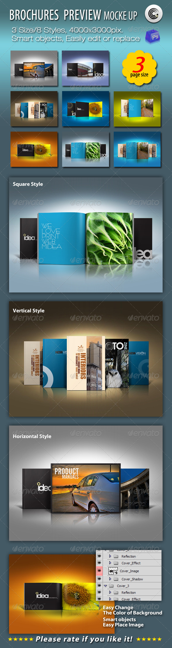 GraphicRiver 3 Size Brochures Mock-up 663575