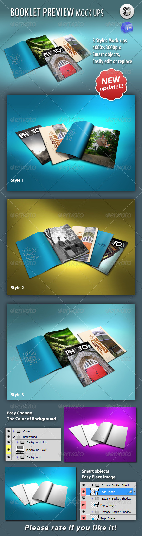 GraphicRiver Thin Booklet Preview Mock-up 634572