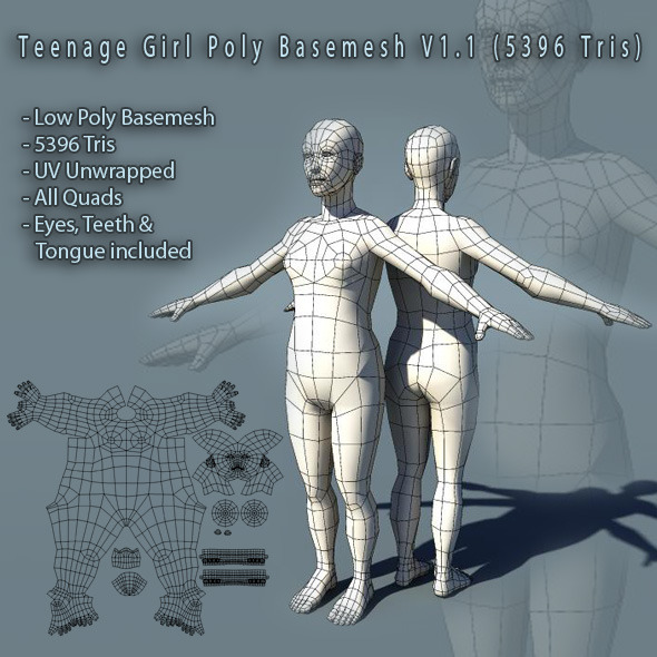Teenage Girl Basemesh V1.1 - 3DOcean Item for Sale